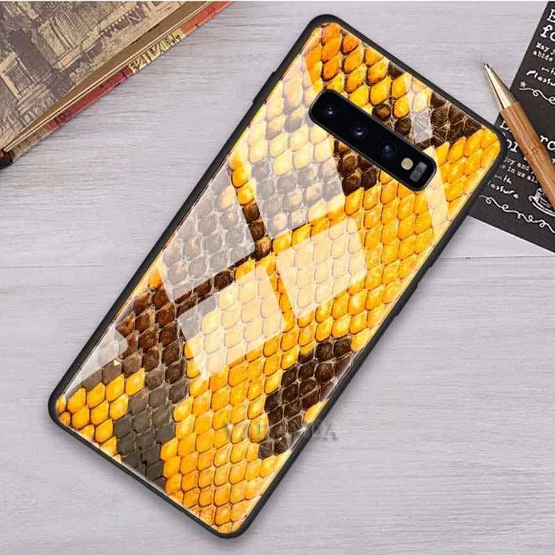 Python or jaune peau de serpent étui pour samsung Galaxy S10 S8 S9 Note 9 10 Plus 5G A70 A50 A30 verre trempé téléphone noir Soft Co