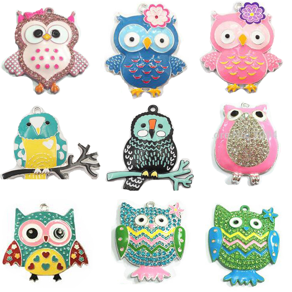 ( Choose Style First ) Each Style 10pcs/bag Enamel/Rhinestone Colorful Tribal Owl,Wild Owl Pendants For Fashion Necklace Making(China)