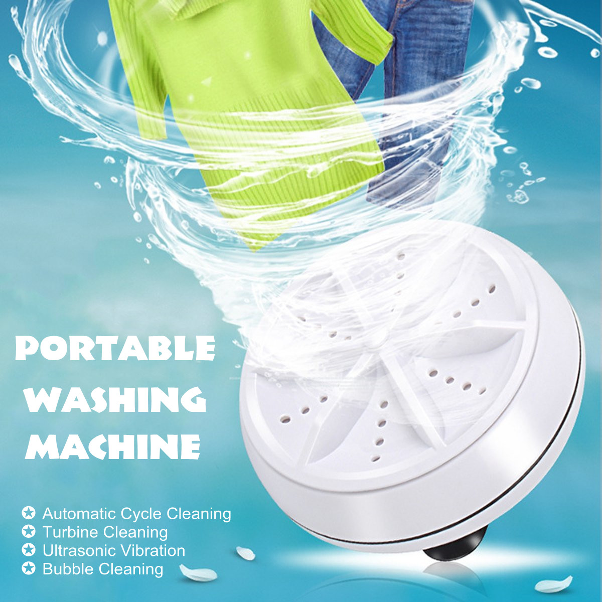Mini Ultrasonic Washing Machine Portable Turbo Personal Rotating Washer Convenient Travel Home Business Trip USB 6W 10V