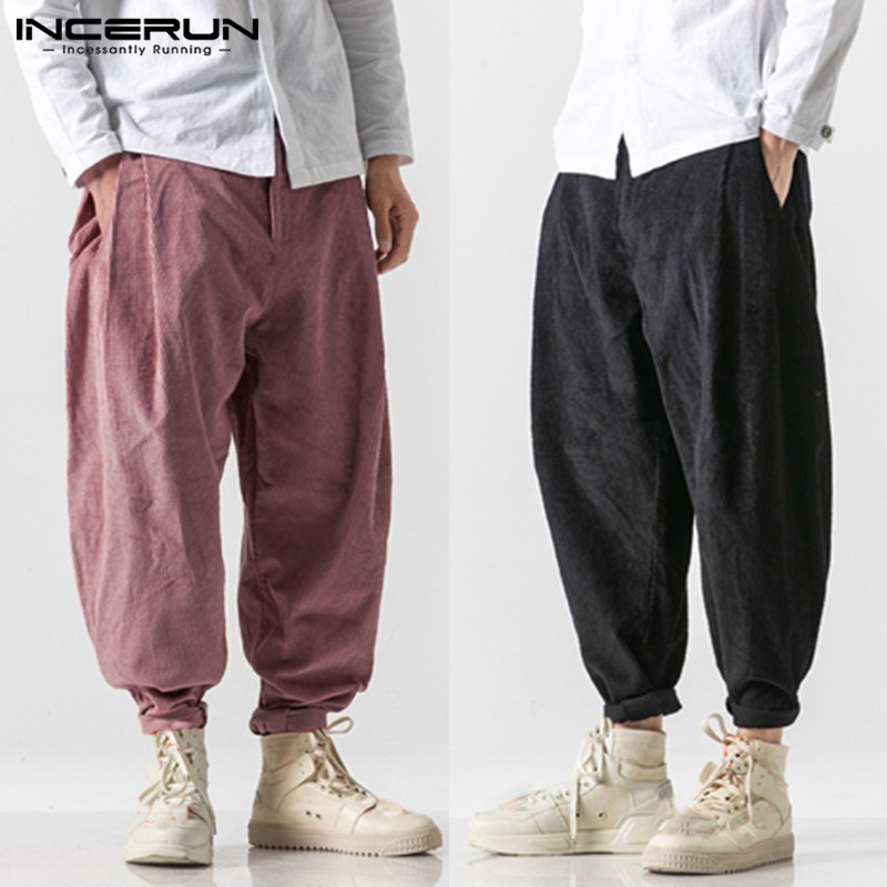 INCERUN 2019 Men Pure Color Harem Pants Fashion Trend Baggy Casual Trousers Joker Streetwear Mens Corduroy Sweatpants Joggers