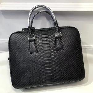 Image 4 - Genuine Python Leather Businessmen Laptop Briefcase Man Large Purse Authentic Real Snakeskin Male Top handle Handbag