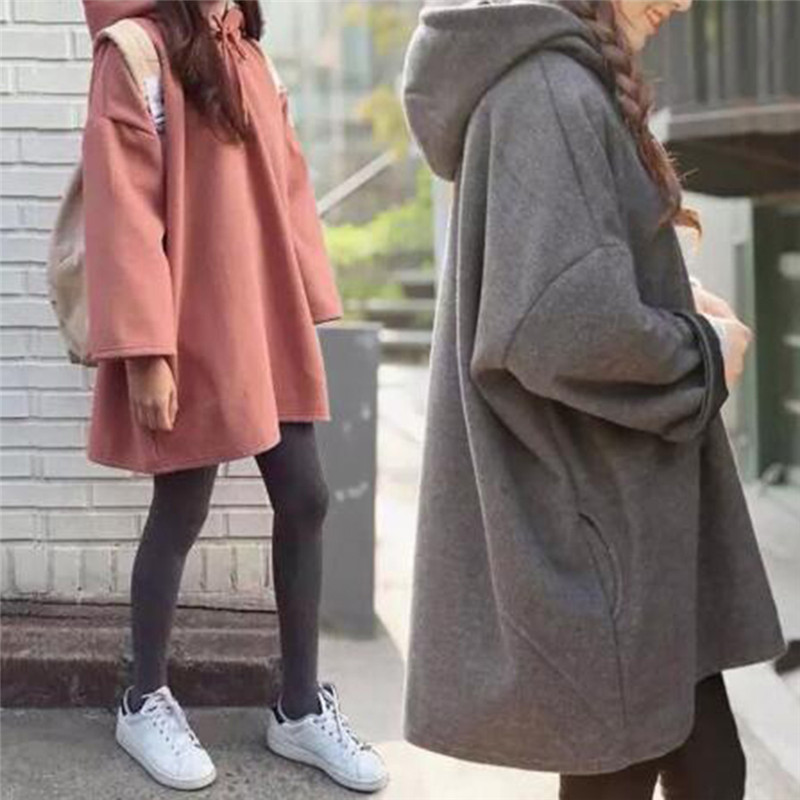 Fashion New Women Harajuku Style Loose Hoodies Females Long Solid Color Hooded Tops Womens Bf Korean Female Pullover Students