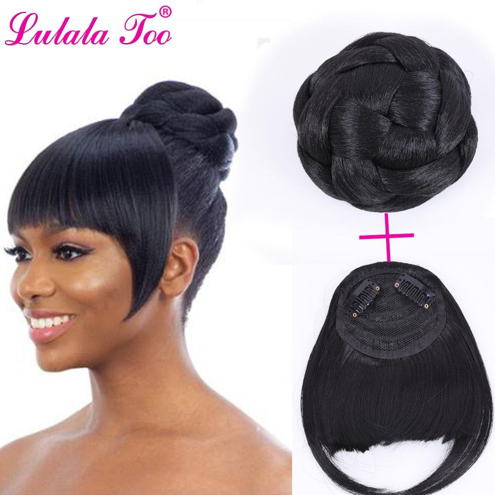 Bundle Hair Bun and Bangs Set