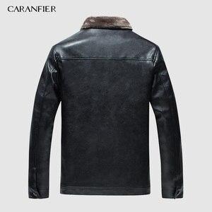 Image 2 - CARANFIER yeni kış motosiklet erkek deri ceket erkekler rüzgarlık PU ceketler erkek dış giyim sıcak PU beyzbol ceketleri boyutu 4XL