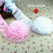 6cm Wide Mesh School Organ Pleated Tulle Lace Ribbon DIY Dress Skirt Trimming Fabric Falda De Ropa Encaje Dentelle Decoration