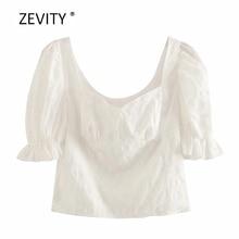 Zevity New 2020 women elegant pleated puff sleeve casual sli
