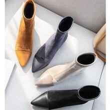 Botines Mujer; коллекция 2019 года; зимние ботинки; женские Модные осенние ботинки из флока на меху с острым носком без застежки; Женская обувь в стиле панк и Готика