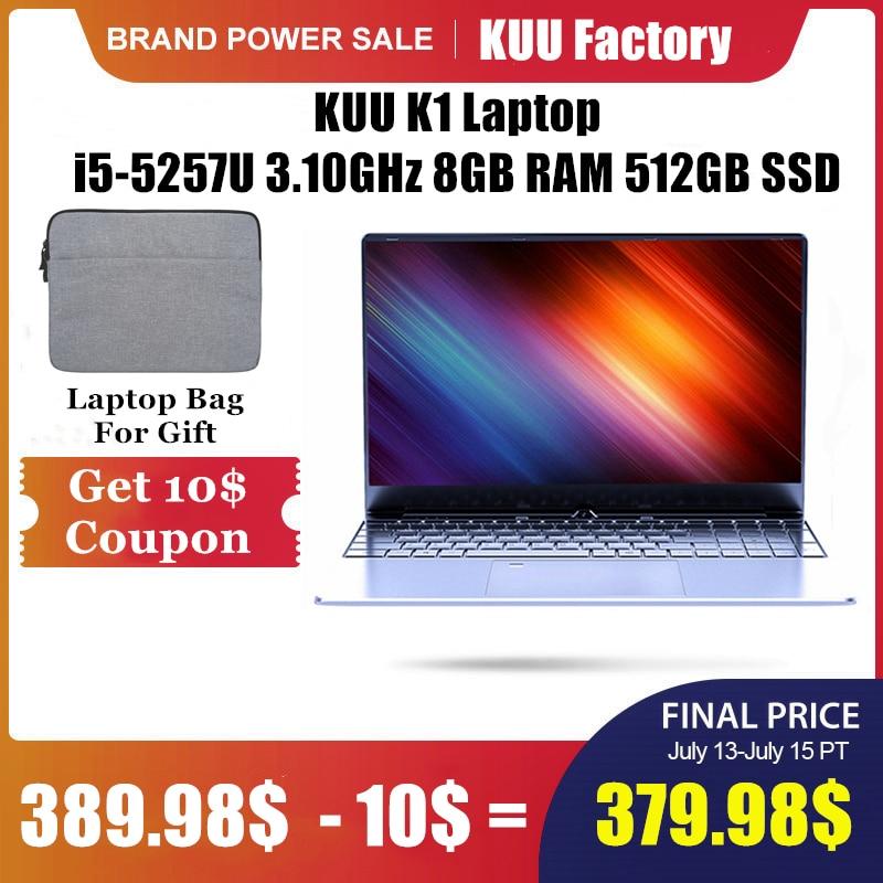 KUU K1 15.6Inch For Intel i5-5257U 3.10GHz Gaming laptop 512GB SSD IPS Screen Keyboard Backlight Fingerprint Unlock Notebook(China)