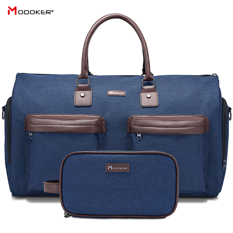 Garment Bag Man Duffel Bag Extra Large for Business Suit Bag Travel Package with Shoe Pocket, SBS Zipper Durable with strap Blue image