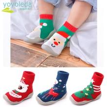 Baby Socks Floor-Shoes Non-Slip Rubber Kid Toddler Elk Christmas-Gift Soles Santa-Claus