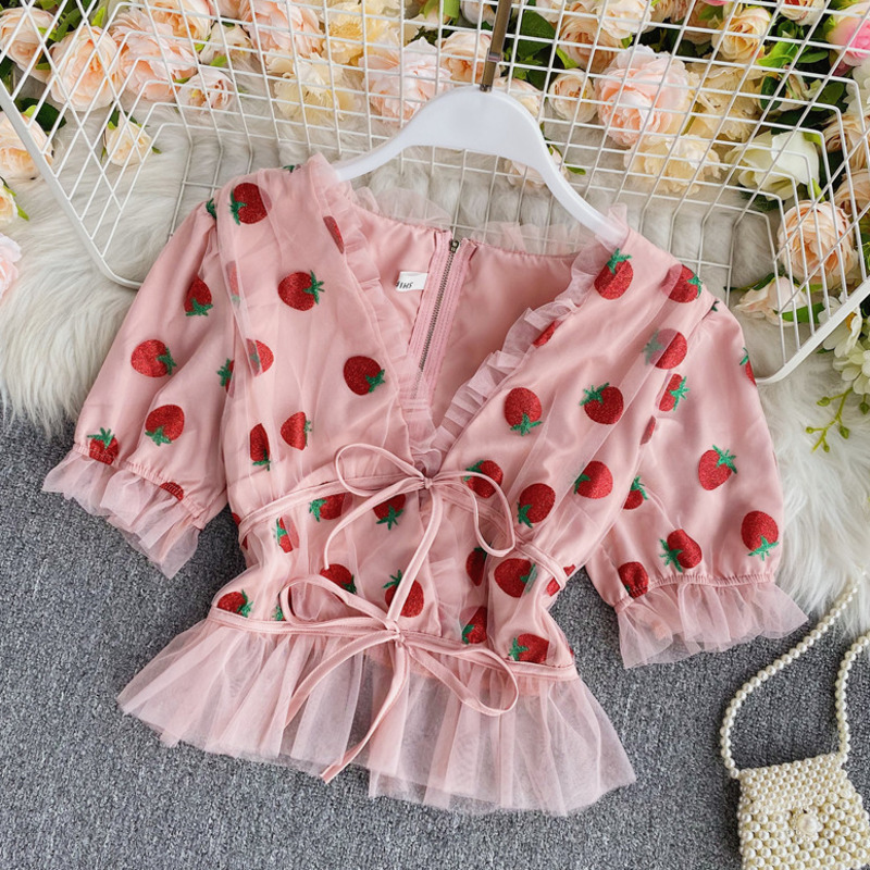 Pink Strawberry Mesh Blouse Women Shirt Sexy V Neck Puff Sleeve Women Blouses Shirts Casual Sweet Tops Female Strawberry Blouse