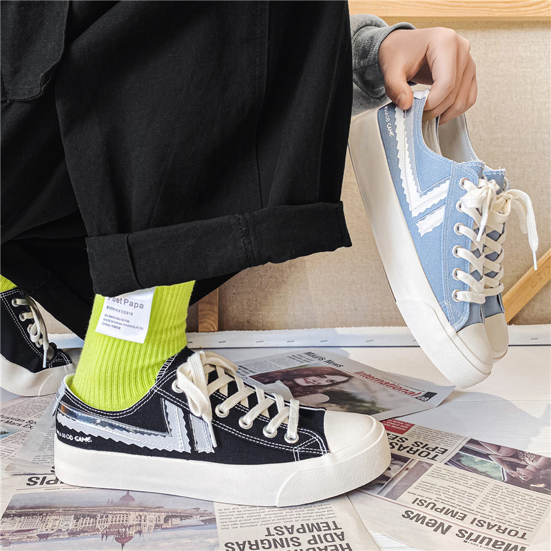 2021 spring new low top men's canvas shoes