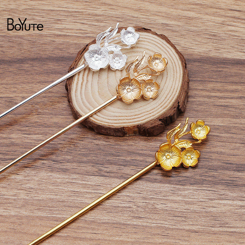 BoYuTe New Arrive (5 Pieces/Lot) Metal Alloy Flower Hair Stick Diy Jewelry Accessories Retro Hair Jewelry Materials