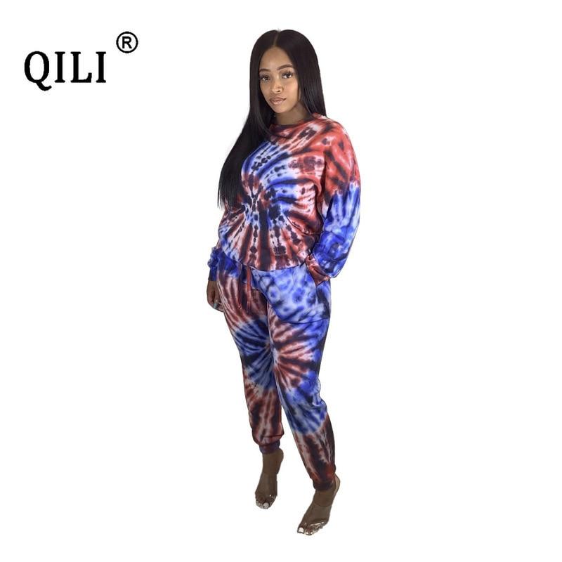 QILI Women Two Piece Set Print Outfits Long Sleeve Suit + Pants Fashion Casual Set Outfits Plus Size Autumn Winter Womens Sets