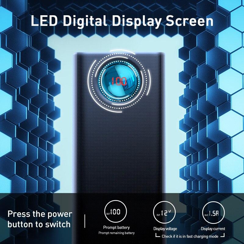 Baseus 30000mAh banco de alimentación USB C PD 3,0 carga rápida + carga rápida 3,0 batería externa portátil para Samsung portátil banco de energía - 5