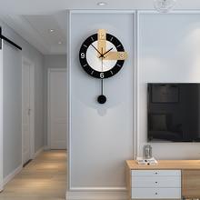 Brief Swingable Wall Clock Pendulum Modern Design Silent Hanging Watch Simple Living Room Decoration Gift
