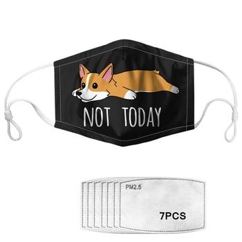PM2.5 Adult Kids Anti Dust/Haze/Wind Face Mask Lovely Corgi Print Mouth Mask Reusable Washable Elastic Masks