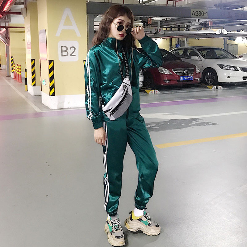 2020 New Green Zip Up Striped Tape Jacket And Drawstring Pants Tracksuit Women Satin Streetwear Spring Casual Two Piece Set TZ26