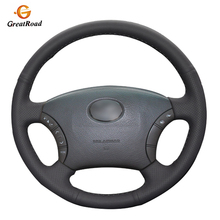Hand stitched Black Genuine leather Car Steering Wheel Covers Wrap for Toyota Land Cruiser Prado 120 2004 2009 Land Cruise