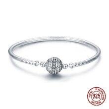 REBEKE otantik 100% 925 ayar gümüş göz kamaştırıcı temizle CZ yılan zincir bilezik fit boncuk Charm kadın takı