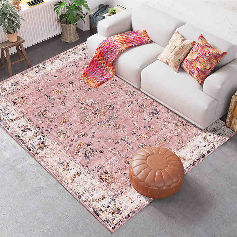 Nordic Modern Pink Living Room Carpet Kid's Room Bedroom Bedside Cute Full Sofa Table Area Rug Kitchen Bathroom Study Mat Home