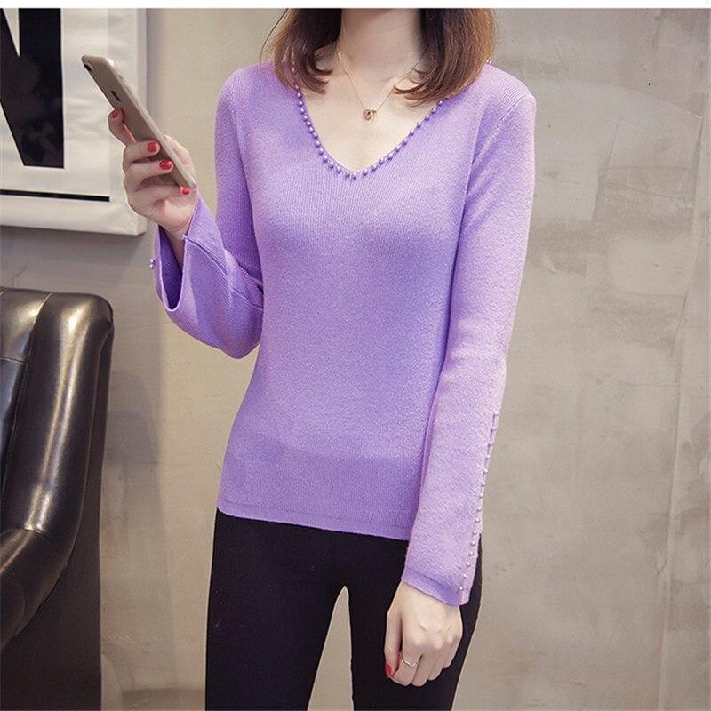 Beading Korea 2019 New Slim Pull Femme V-Neck Woman Jumper Soft Women Fall Knitted Sweater Pullover Sueter Mujer Winter