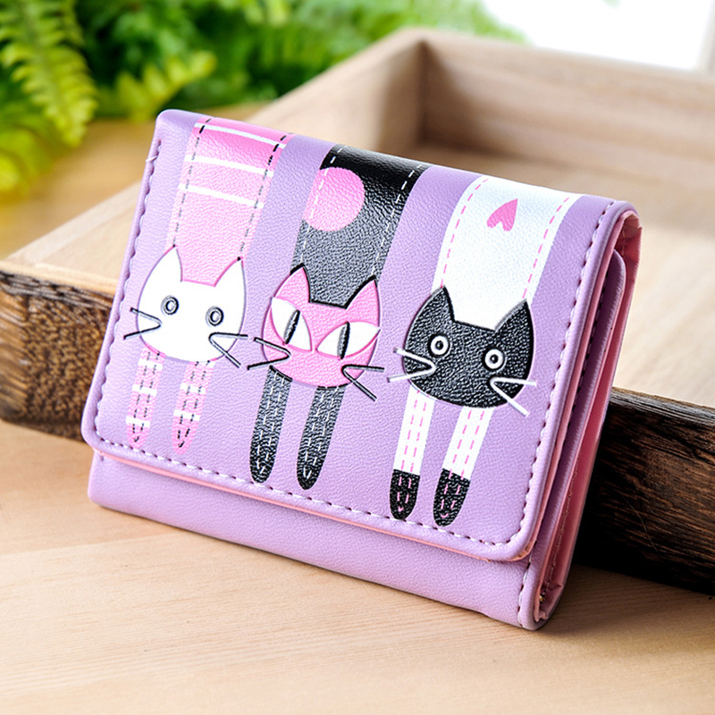 Cartoon Cat Prints Wallet 3 Fold PU Leather Hasp Short Female Wallets Women PU Leather Coin Purses Credit Card Holder Wallet