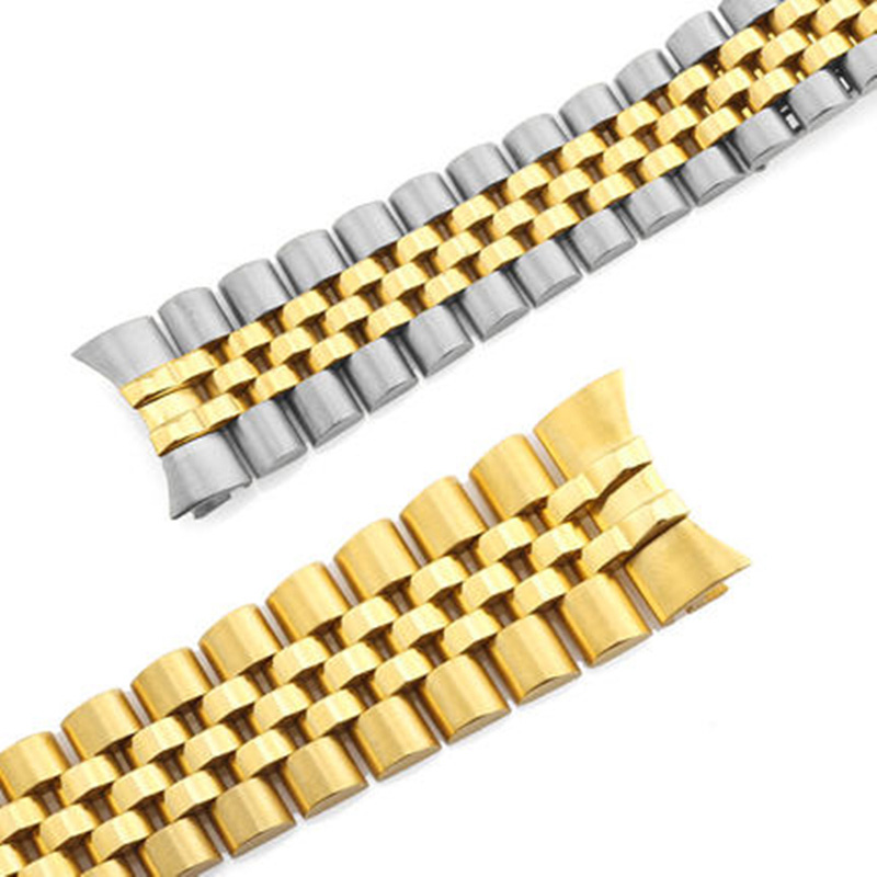 Image 5 - Men Women 13mm 17mm 20mm Brands Silver Gold Stainless steel WatchBands Strap Replace For DATEJUST ROLE Watch Wristband BraceletWatchbands   -