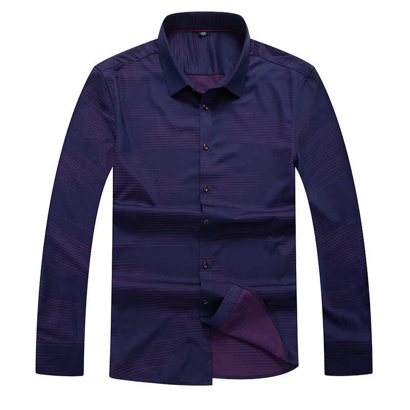 Ukuran Besar Slim Stretch Panjang Lengan Chemise Homme Bisnis Kasual Kemeja Kerah Gaun Cetak Pekerja Memakai Camisa Masculina