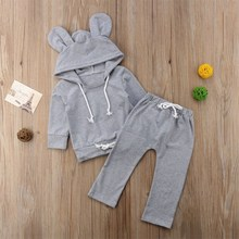 New Autumn Toddler Kids Baby Girl Boy Hoody Pant Set Fashionable Concise Comfy Kid Clothes 0-24M Cute Newborn