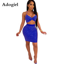Adogirl Rhinestones Halter Bra Crop Top+ High Waist Mini Bodycon Skirts Suit Women Sexy Two Piece Set Dress Night Club Outfits adogirl reflective gilding two piece set dress 3 4 puff sleeve one shoulder crop top bodycon mini skirt women sexy club outfits
