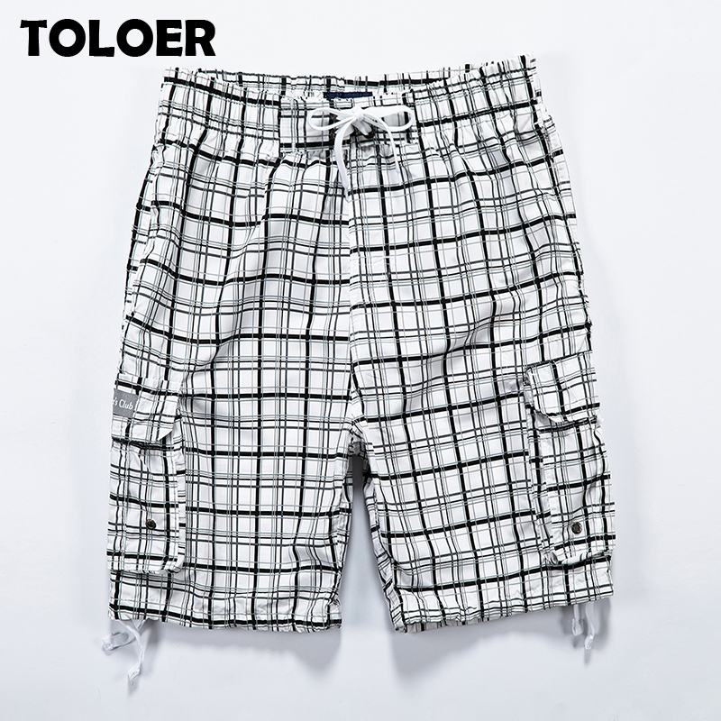 Summer Long Shorts Men Plaid Capris Cotton 3/4 Length Trousers Male Pocket Bermuda Beach Shorts Vogue Elastic Waist Breeches Men