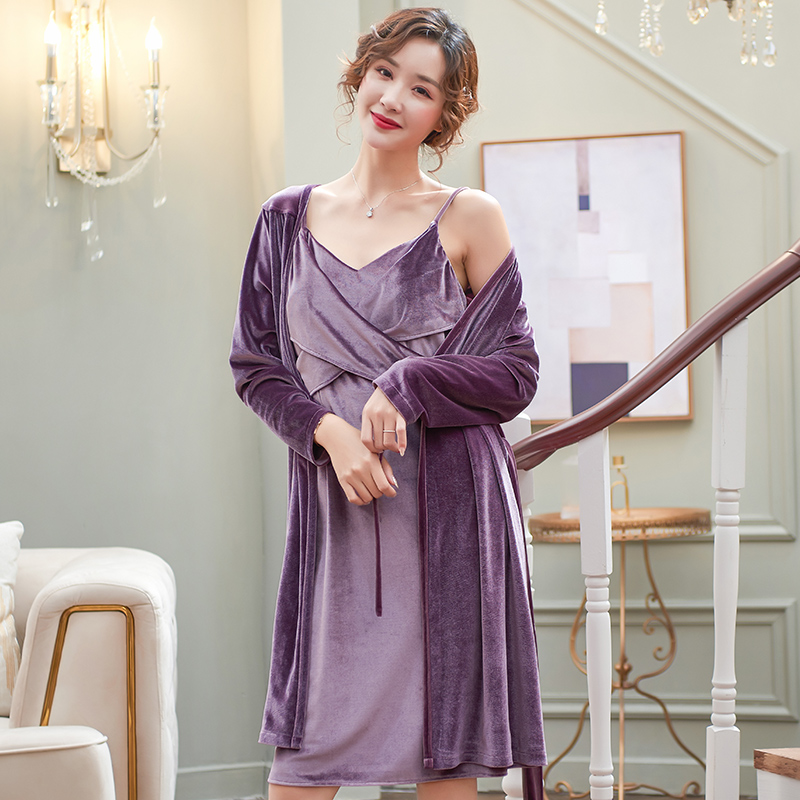 Autumn Winter Women Gold Velvet Pajamas Sets Robes +  Spaghetti Strap Nightgown + Headband Pijama Sleepwear 3 Pieces/set Pyjamas