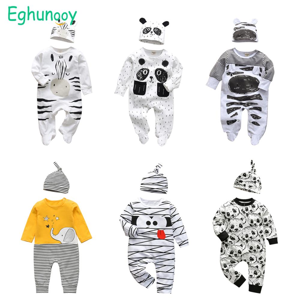 2Pcs Newborn Baby Boys Clothes Outfits Set Infant Toddler Clothing Cotton Long Sleeve Cartoon Print Jumpsuit and Hat