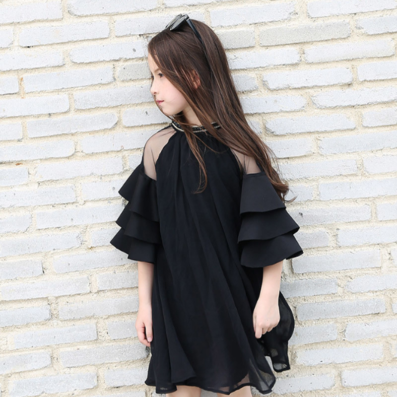 Teenager Ruffle Sleeves Chiffon Dresses For Girls Clothing Age68 10 12 14 16Year New Big Girls Party Dress Children 40 in Dresses from Mother Kids