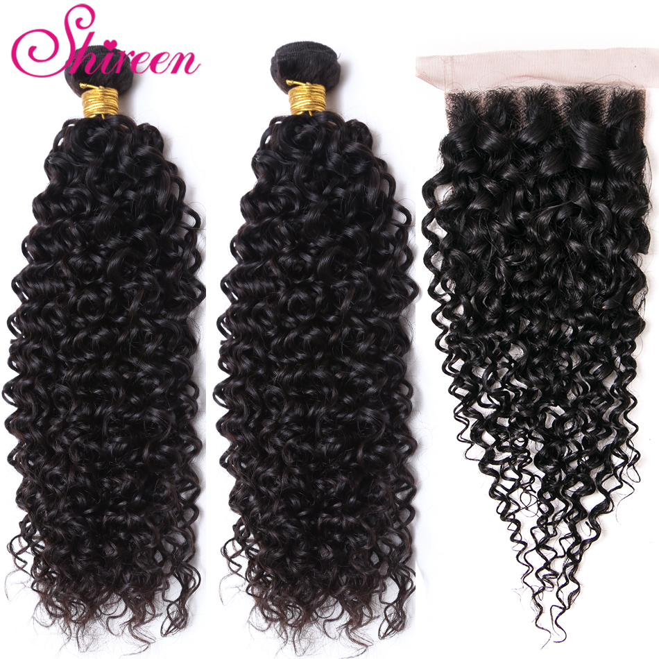 Shireen Malaysian Curly Hair With Closure 4*4 Lace Free Part Human Hair Weave 2 Bundles With Closure 3pcs/Lot Remy Hair Bundles