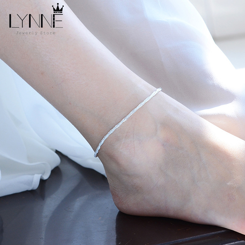 Fashion Twisted Weave Chain For Women Anklet Hot Sale 925 Sterling Silver Anklets Bracelet For Women Foot Jewelry Anklet On Foot 5