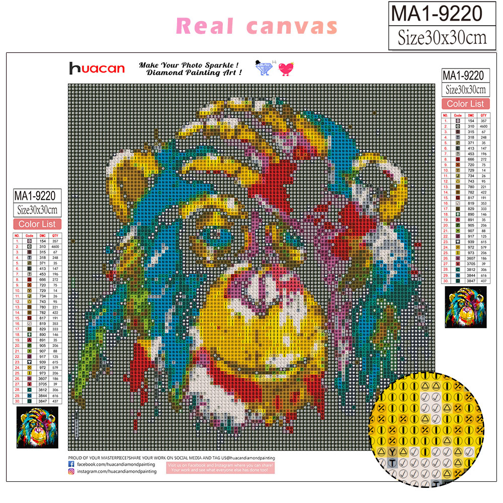 HUACAN 5D Diy Diamond Embroidery Cross Stitch Monkey Diamond Painting Full Square/round Animal Mosaic Home Decoration Gift