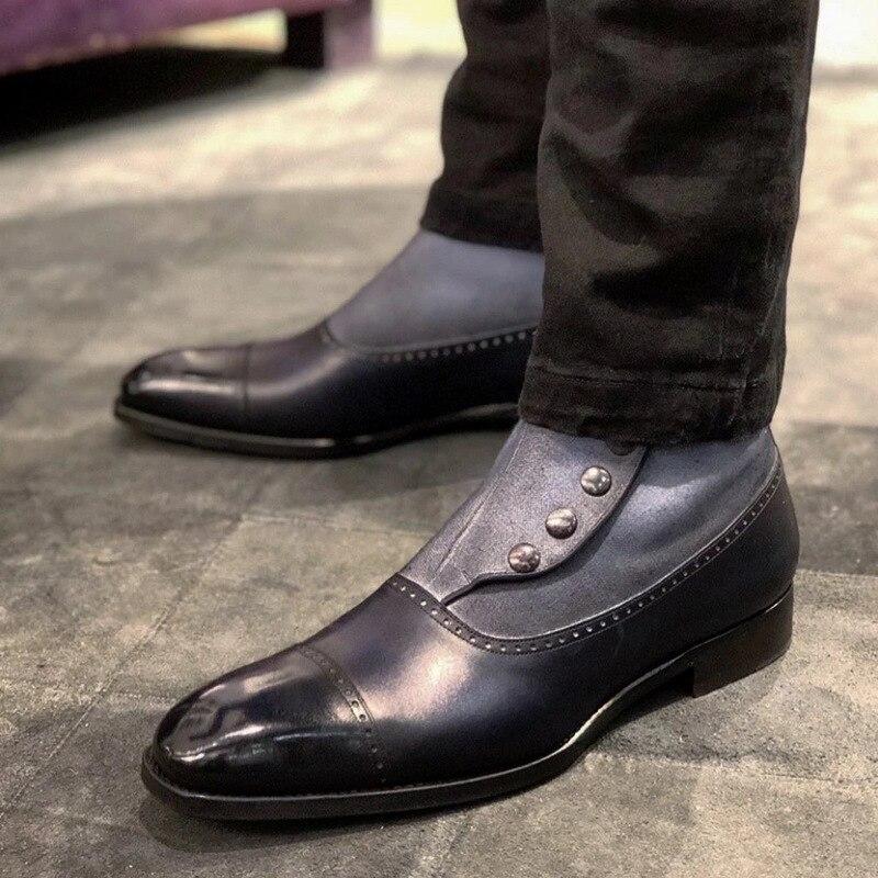 Hommes bottines sans lacet talons bas matin chaussures homme homme
