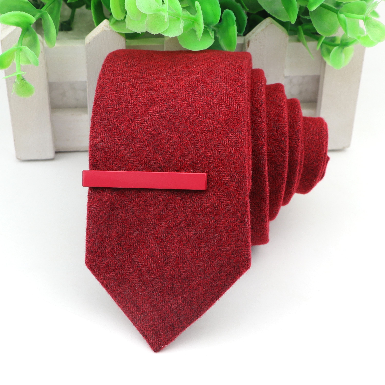 Men's Tie&Clips Set 6cm Cotton+Wool Solid Color Narrow Ties 4.5cm Formal Alloy Necktie Clip Wedding Suits Accessories Jewelry