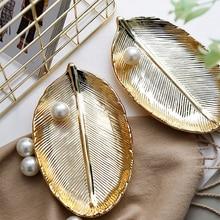 Ceramic Plate Ins Gold Leaf Storage Trays Decorative Room Home Decoration Accessories Decor Decoracion Hogar Moderno