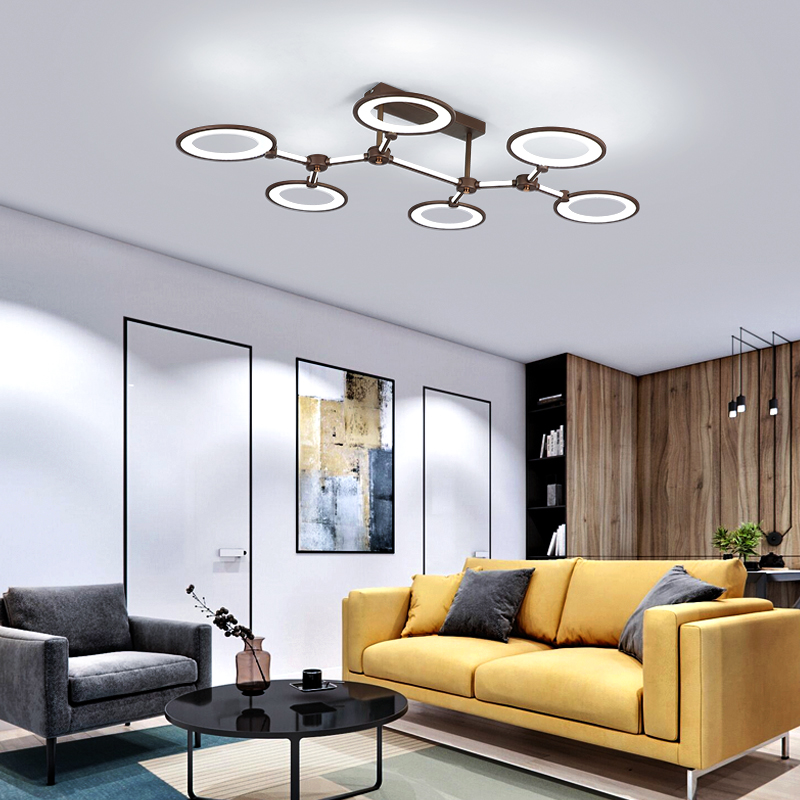 2019 New Design Aluminum rings Modern Led ceiling lights For Livingroom Bedroom led avize Brown frame lamp