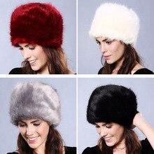Women Fur Hat Winter Natural Faux Fox Fur Cap Fox Elastic Warm Soft Fluffy Luxur