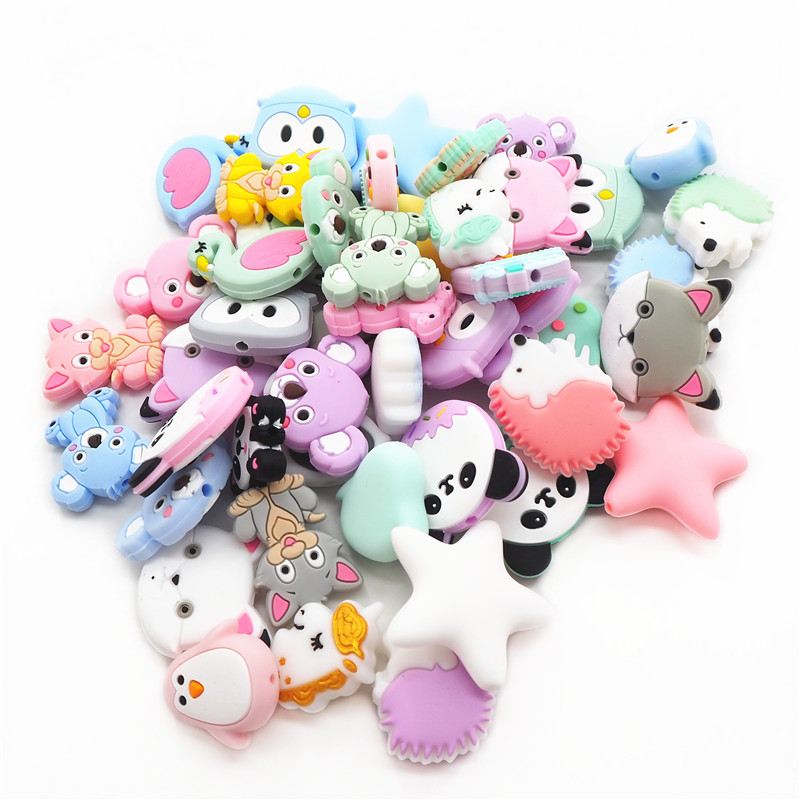 Chenkai 10pcs Silicone Beads DIY Unicorn Star Penguin Raccoon Koala Flamingo Fox Baby Teething Sensory Jewelry Cartoon Beads