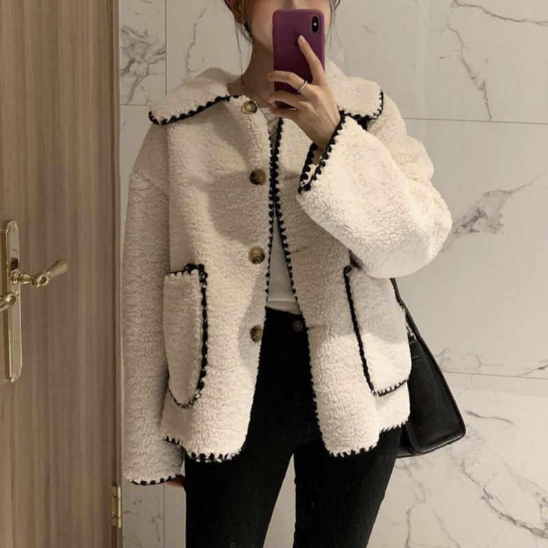 Delle donne di inverno dell'annata girare giù il collare lambwool cappotto delle signore Dente fiore manica lunga corta in lana giacca cappotto caldo outwear