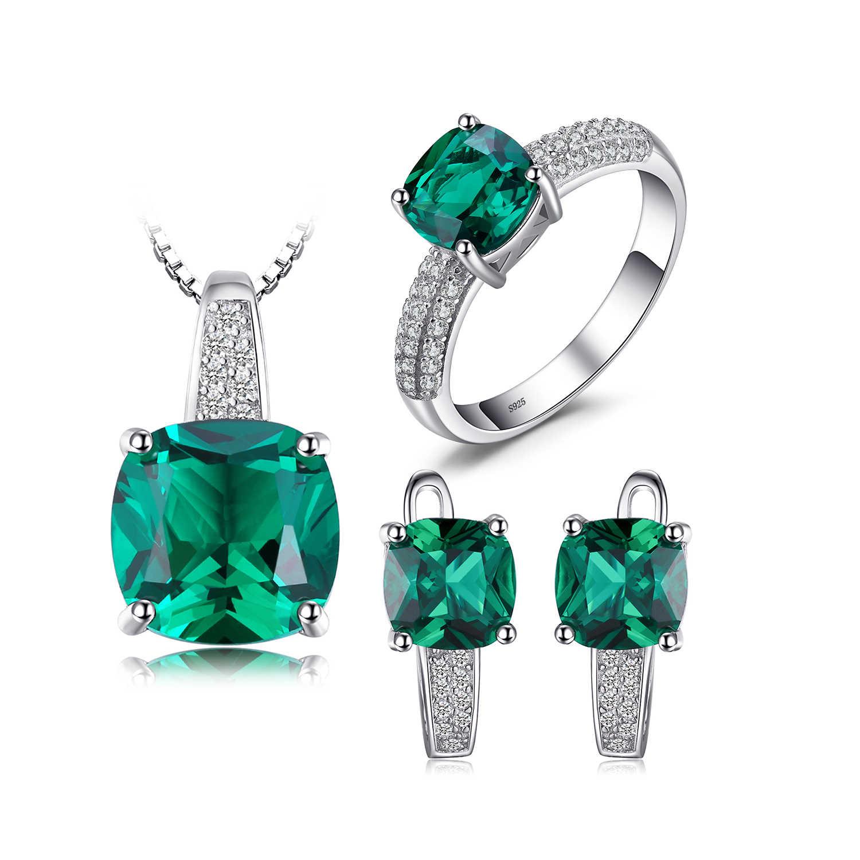 JewelryPalace נוצר אמרלד טבעת תליון חישוק עגילים 925 תכשיטי כסף סטרלינג חן תכשיטים