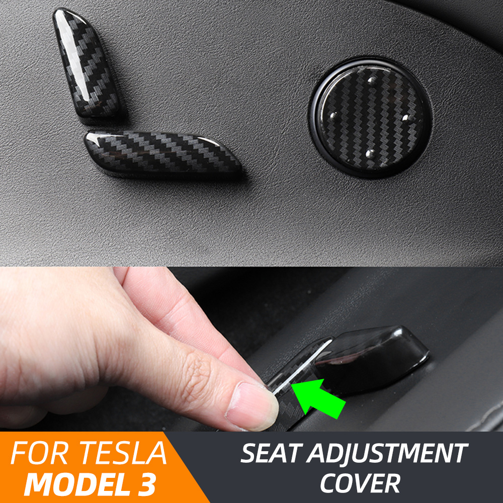 For Tesla Model 3 Model Y Carbon Fiber Color Interior Seat Adjust Switch Button Trim Cover Car Styling Accessories