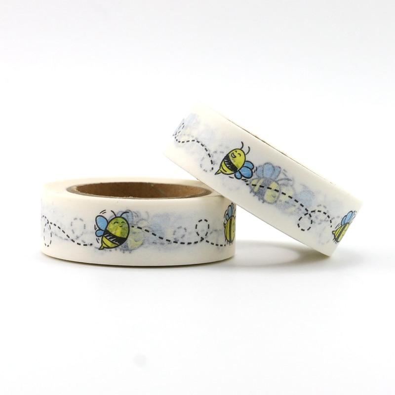 10M Cute Decorative Bees Print Washi Tape Animal DIY Scrapbooking Sticker Label Japanese Masking Tape School Office Supply