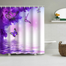 Purple Butterfly Shower Curtains  Marine life Peacock feather Shower Curtains Bath Curtain Polyester Waterproof Bathroom Curtain peacock feather fabric shower curtain with hooks
