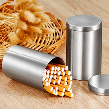 Stainless Steel Large Capacity Cylindrical Cigarette Case Sealed Tobacco Cans Portable Windproof Car Ashtray Household Tea Box